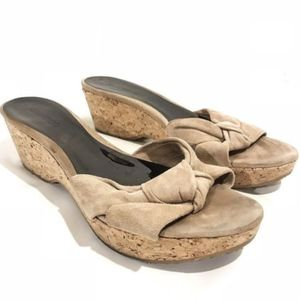 Jimmy Choo Suede Knot Cork Wedge Heel Sandals